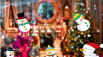 Mẫu decal trang trí noel 5 người tuyết và những nốt âm nhạc