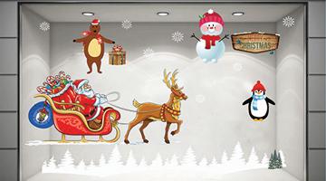 Mẫu decal trang trí noel Ông già Noel và xe quà khổng lồ